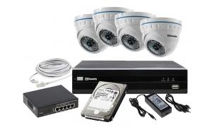 Zestaw 4 kamer LC-141-IP + akcesoria + dysk 1TB