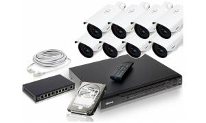 Zestaw 8 kamer LC-366 IP POE+ akcesoria + dysk 1TB