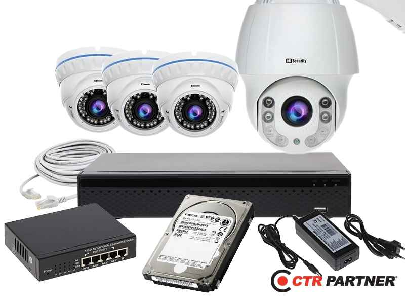 Zestaw 3xLC-444 IP + LC-HDX44 IP + akcesoria + 1TB