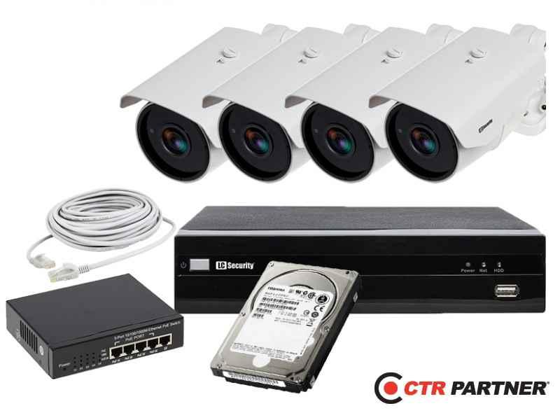 Zestaw 4 x LC-256-IP POE + akcesoria + dysk 1TB